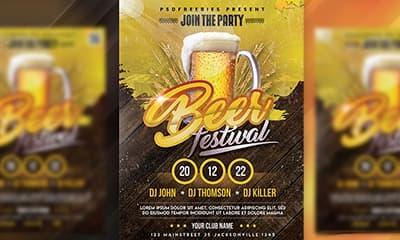 Best Beer Festival Flyer Free PSD Template
