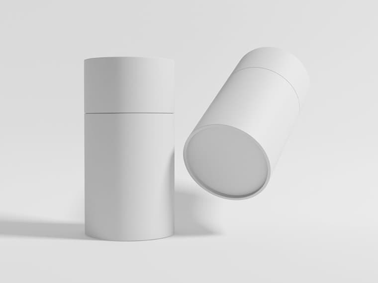 Free Paper Tube Packaging Mockup PSD Template