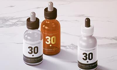 30ml Dropper Bottles Mockup free PSD (glass, amber glass, plastic)