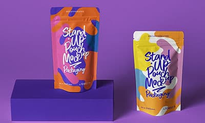 Free Stand-up Pouch Packaging Mockup PSD