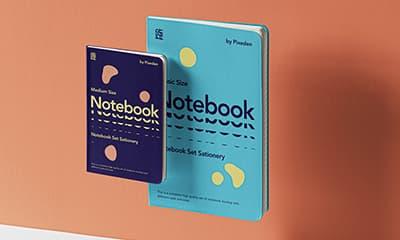 Free Gravity Notebook Cover  Set Mockup PSD
