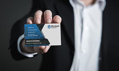 Hand Holding Business Card Mockup PSD Free Download