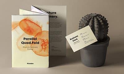 Free PSD Quad Fold Brochure Mockup