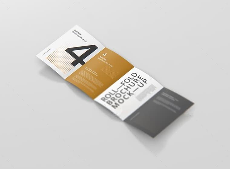 Free 4 Panel 8 Page A4 Roll-Fold Brochure Mockup