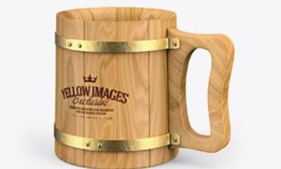 Wooden Mug Mockup Free PSD